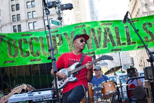 Tom Morello of Rage against the Machine played in support of the protesters on Sunday AFP File / Andrew Burton