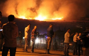 Flames are seen after a huge blast rocked central Turkish province of Afyonkarahisar on 6 September AFP PHOTO / IHLAS NEWS AGENCY / TURKEY OUT