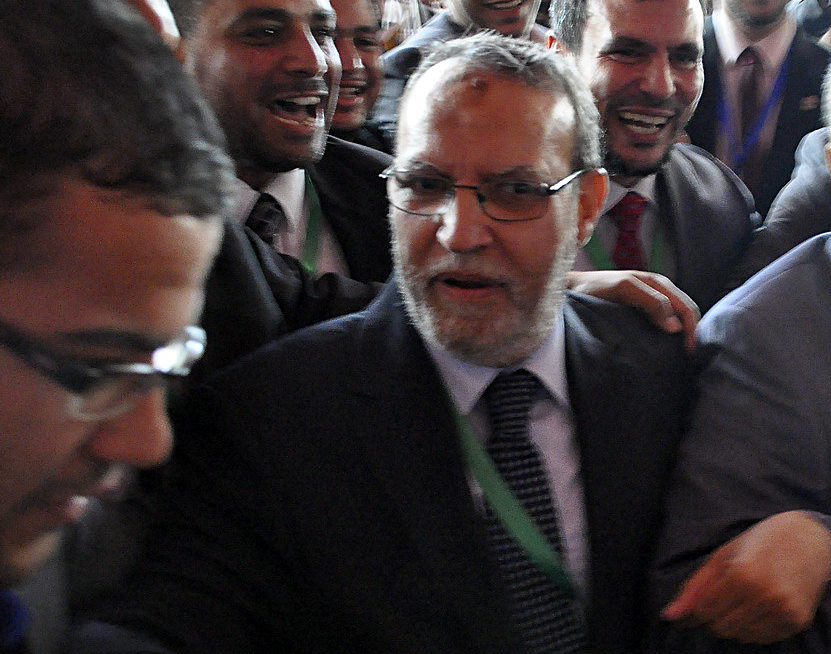 Essam El-Erian arrives at the FJP conference for the election of a new party leader. (Photo by Mohamed Omar)