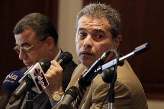Tawfiq Okasha, the owner of Al Fara'een TV channel holds a press conference in The Meridian Hotel in August. (Photo courtesy of Mohamed Omar)