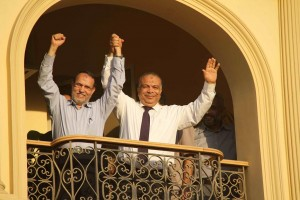 Essam El-Erian , left, and Saad El-Katatny are running for presidency of the FJP (File photo) Mohamed Omar