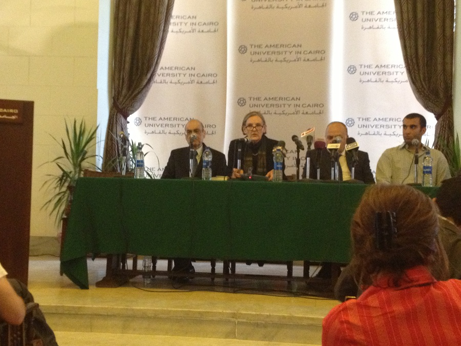 AUC holds a press conference to announce the capping of rise in student fees Basil El-Dabh
