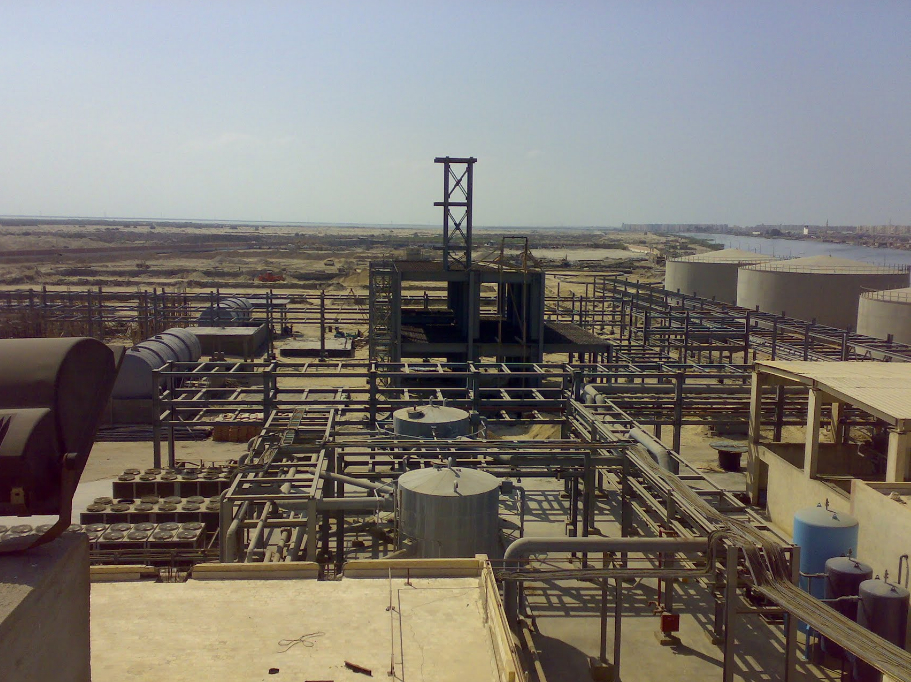 Samnar TCI's petrochemical plant located in Port Said's industrial zone AFP PHOTO / Basem Ragab
