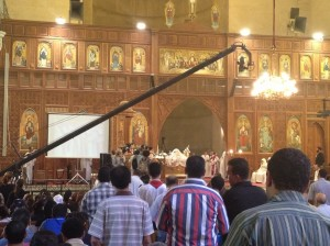 A special prayer service is held at Saint Mark's cathedral to remember those killed in the Maspero massacre in 2011 and to ask for guidance in electing a new pope Basil El-Dabh