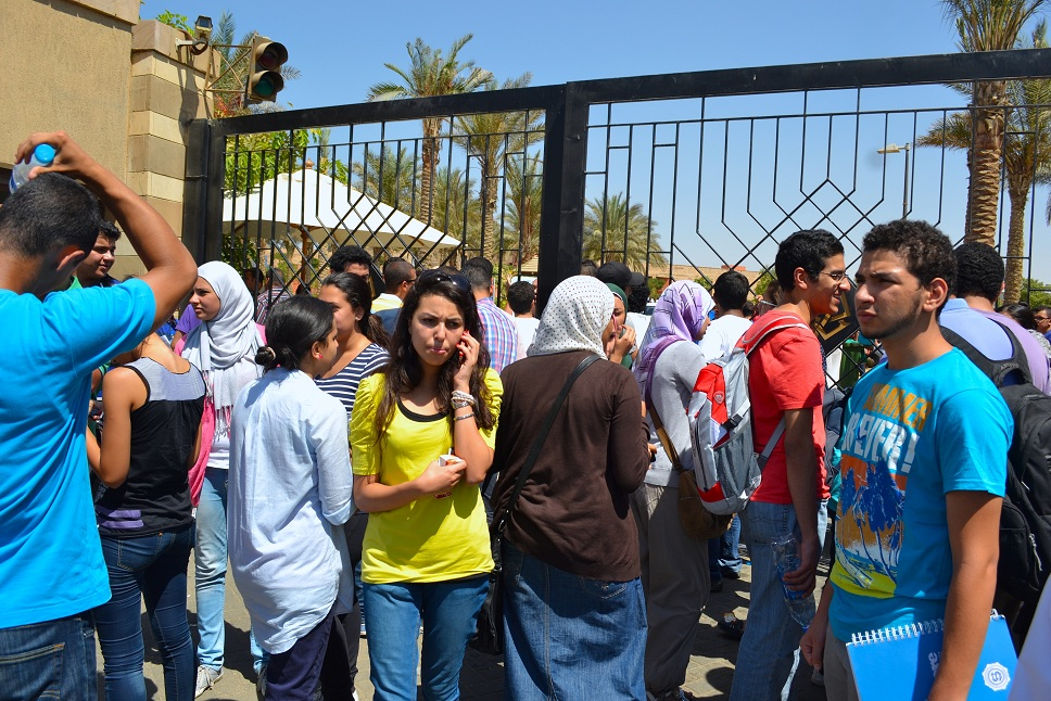 Students block the gates of the American University Cairo campus (File photo) Wajih Fakhouri Courtsey of The Caravan