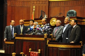 Mohamed Al-Beltagy announces the draft constitution produced by the Constituent Assembly Hassan Ibrahim / DNE