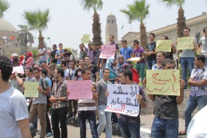 A student protest at Cairo University during a visit of Mohamed Morsy. There has been a proliferation of protests since the 25 January Revolution. (Photo by Mohamed Omar)