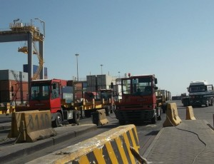 Inside Ain Sokhna port as workers continue the strike. (Photo by Hassan Ghoneima)