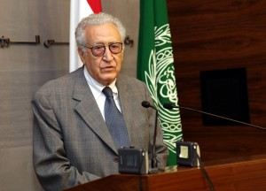Brahimi speaking during a joint press conference with Prime Minister Najib Mikati at the governmental palace in Beirut on October 17, 2012. (AFP/ HO/ Dalati & Nohra)
