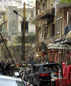 Lebanese security forces inspect damages in Beirut's predominantly Christian district of Ashrafieh a day after a deadly car bomb blast. (AFP Photo / Anwar Amro)