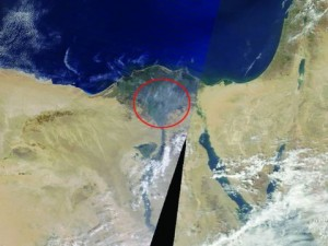 A satellite image of the cloud over Egypt. (AERONET/NASA)