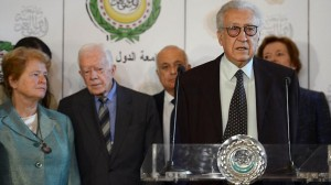 International peace envoy Lakhdar Brahimi in Cairo with (L-R) former prime minister of Norway Gro Harlem Brundtland, former US president Jimmy Carter, Arab League Secretary General Nabil al-Arabi and former president of Ireland Mary Robinson. Khaled Desouki / AFP