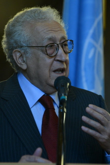 UN-Arab League peace envoy Lakhdar Brahimi speaks to the media following his talks with Russian Foreign Minister Sergei Lavrov in Moscow. (AFP PHOTO / KIRILL KUDRYAVTSEV)