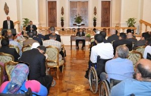 President Morsy addresses a meeting promoting the rights of the disabled in Egypt. (Presidential Office / Handout)