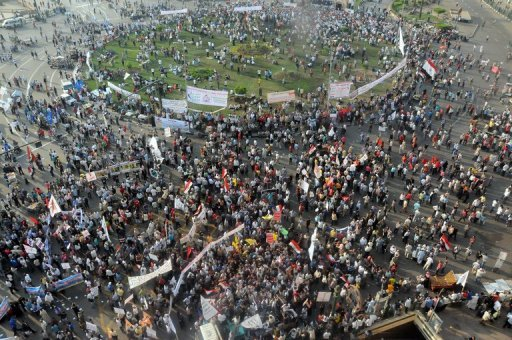 Thousands of Egyptian protesters gather in Cairo's Tahrir Square on October 19 (AFP/File, Ahmed Mahmoud)