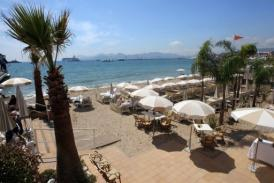 Tables and sunshades are pictured on a beach on the croisette in Cannes at the French riviera in 2010 (AFP/File, Valery Hache)