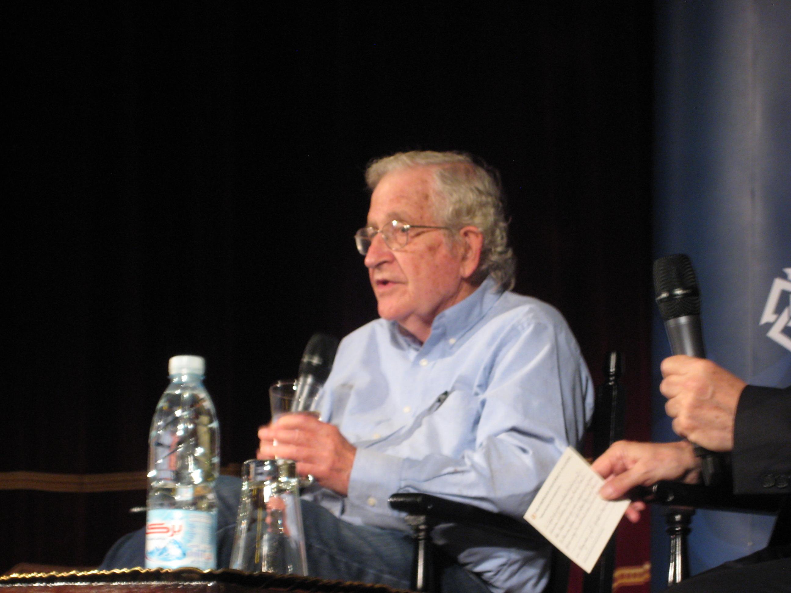 Noam Chomsky addressing the crowd at the American University in Cairo Luiz Sanchez / DNE