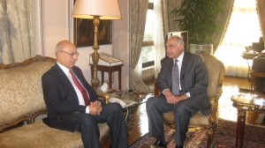 Nabil Shaath with Minister of Foreign Affairs Mohammed Amr. (PHOTO COURTESY OF MINISTRY OF FOREIGN AFFAIRS)