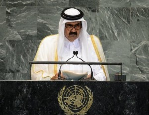 Qatari Emir Sheikh Hamad bin Khalifa al-Thani, pictured in September 2012, is to travel to Gaza on Tuesday in the first such visit by an Arab leader since Hamas took over in 2007. (AFP File/ Emmanuel Dunand)