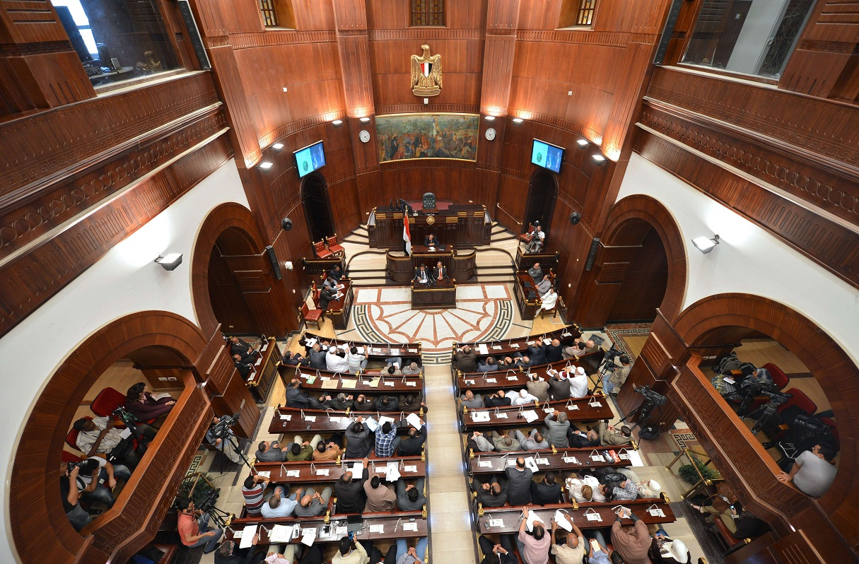 The Constituent Assembly makes available a preliminary draft of the Egyptian constitution. (AFP PHOTO/ KHALED DESOUKI)