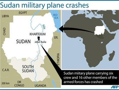 A map locating Jebel Aulia in Sudan where 13 Sudanese military personnel died and nine others were injured when their transport plane crashed west of Khartoum on its way to conflict-plagued Darfur, state media reported AFP Photo