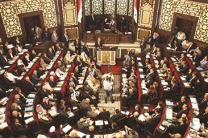 The last general election was held on May 7, with the majority of the 250 going to the ruling Baath party. (AFP Photo)
