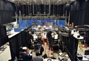 Television crews set up inside the debate hall as preparations continue for the second presidential debate (AFP, Stan Honda)