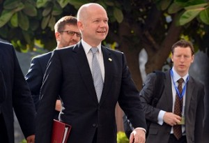 British Foreign Secretary William Hague arrives for the ministerial meeting of the Arab League and European Union in the Arab League headquarters in Cairo. (AFP PHOTO / KHALED DESOUKI)