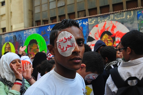 Activists hold a rally on Mohamed Mahmoud Street on the anniversary of the clashes. (DNE / Hassan Ibrahim)