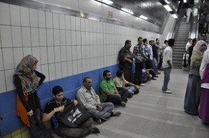 One of Al Giza-Shobra line metro station gets overcrowded. Metro, transport, crowd, subway. (PHOTO BY MOHAMED OMAR)