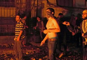 Fighting breaks out near Mohamed Mahmoud Street as stone throwers confront security forces (Photo by Laurence Underhill)