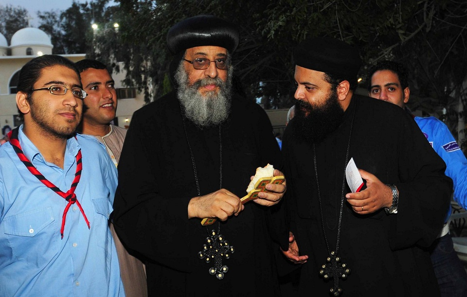 Bishop Tawadros confers with members of the Coptic Church at Saint Bishoy Monastery Hassan Ibrahim