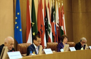 From right to left, Pierre Vimont, Executive Secretary General of the European External Action Service, EU Foreign policy chief Catherine Ashton, Lebanese Foreign Minister Adnan Mansour and Arab League general secretary Nabil al-Arabi, attend the ministerial meeting of Arab League and European Union at the Arab League headquarters in Cairo. (AFP PHOTO / KHALED DESOUKI)
