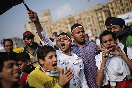Students marched from Cairo university to join protesters on Tahrir Square. (AFP Photo / Gianluigi Guercia)