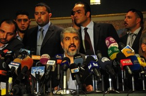 Khaled Meshaal speaks at a press conference in Cairo. (DNE / Hassan Ibrahim)