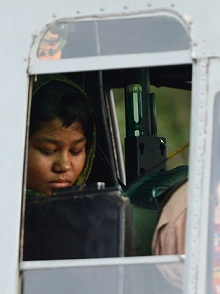 Rimsha Masih, a Christian girl accused of blasphemy sits in helicopter after her release from jail in Rawalpindi. (AFP / FILE PHOTO / Farooq Naeem)