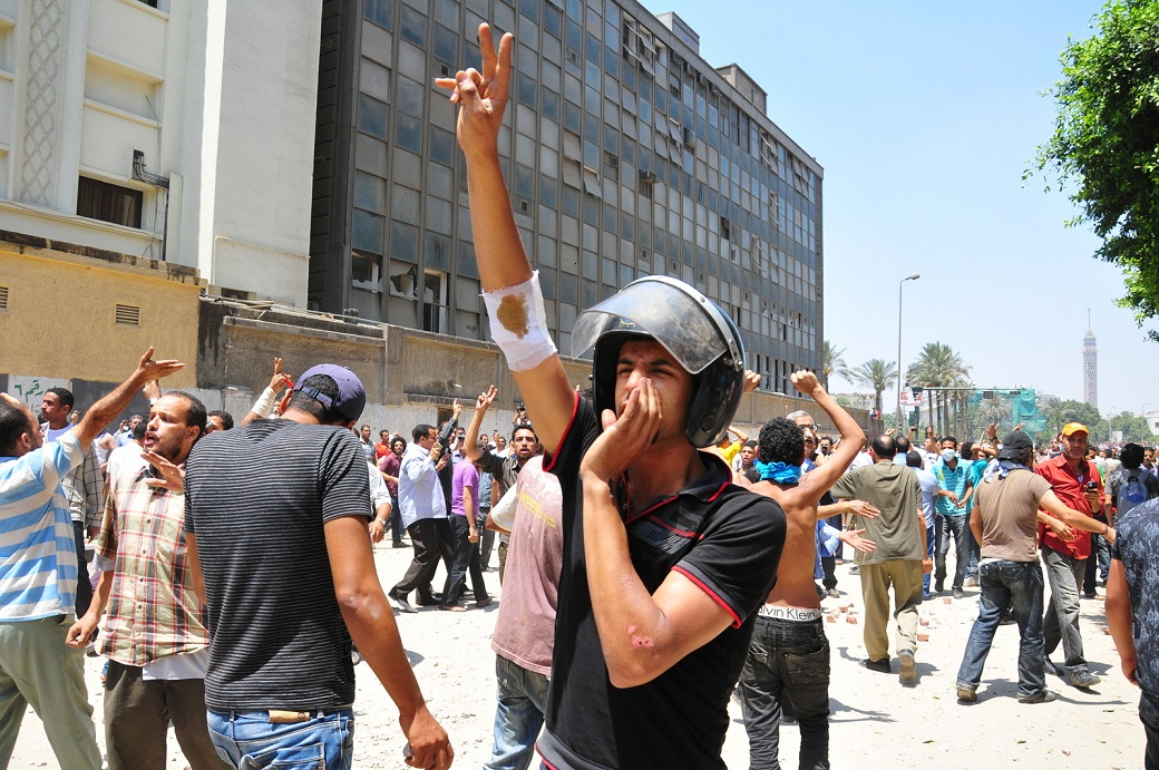 """A Revolutionary Socialist leader from the German University of Cairo said that many of the leftists at the time of Mohamed Mahmoud had a feeling of optimism that the popular action that took place in January was being reignited. """"People were in the street again,"""" he said, """"they were at the Ministry of the Interior and fighting police again."""" But, he added, the left failed to take advantage of the way the Islamists distanced themselves from the protesters. """"We had a good opportunity, to say 'look, they're not with you.' But we haven't been able to show people that."""" Hassan Ibrahim"""