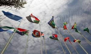 Flags representing some of the 54 nations of the African Union AFP Photo