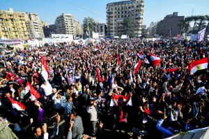 Thousands gather in Tahrir square for protests against President Morsy's recent constitutional declaration Photo by Hassan Ibrahim