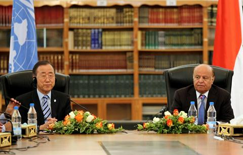 United Nations Secretary General Ban Ki-moon (L) attends a meeting with Yemeni President Abd Rabbo Mansour Hadi in Sanaa on November 19, 2012, during an unannounced visit to take stock of the implementation of the agreement on political transition signed a year ago. (AFP PHOTO/ MOHAMMED HUWAIS)