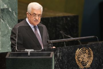 Mahmoud Abbas, President of the Palestinian Authority, speaks during the 67th session of the United Nations General Assembly September 27, 2012 at UN headquarters in New York. (AFP / STAN HONDA / GETTY IMAGES)