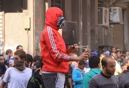 Running battles have left at lest 56 injured in and around Tahrir Square in Downtown Cairo. (DNE / Hassan Ibrahim)