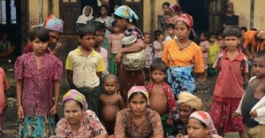 This picture taken on Oct 11, 2012 shows Muslim Rohingyas in the courtyard of a school sheltering Internally Displaced Persons (IDP) in the village of Theik Kayk Pyim, located on the outskirts of Sittwe, capital of Myanmar's western Rakhine state. (AFP PHOTO)