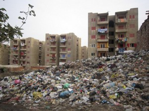 A sea of rubbish separating buildings and shacks in the Doweika area of Cairo Sarah El Masry
