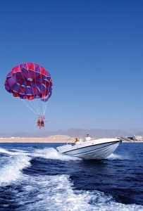 Parasailing on the Red Sea