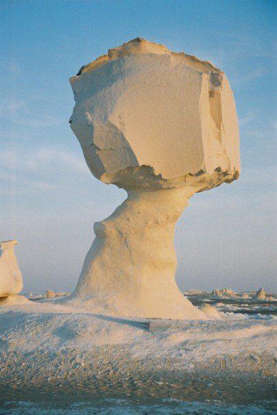 Iconic mushroom rock of the white desert in Bahariya Injy El Kashef