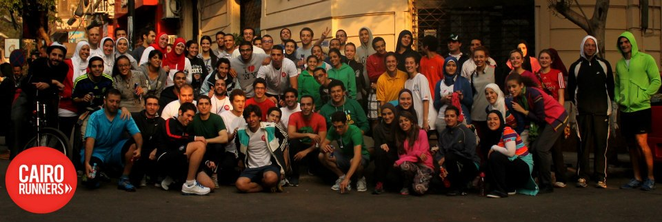 Cairo runners pose for a group shot Courtesy of Cairo Runners Facebook group