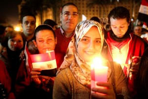 Egyptians celebrated the new year in Tahrir square in 2011. Courtesy of AFP