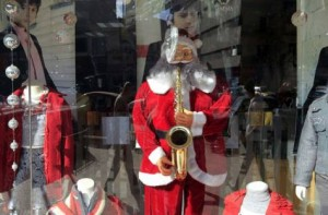 A random Santa in a clothing shop in Cairo AFP