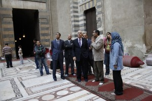The minister of antiquities inspects the mosque Courtesy of Sound of Sakia Facebook page